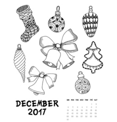 2017 calendar page of month vector