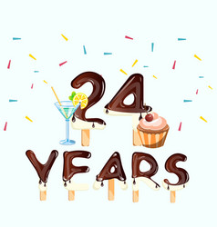 24 number happy birthday greeting card vector image
