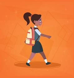 African american girl pupil walking to school vector