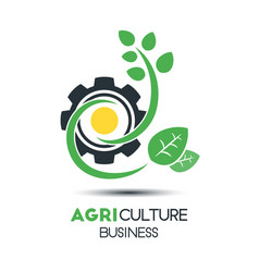 Agriculture business logo template green leaf vector
