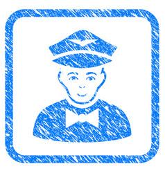 Airline steward framed stamp vector