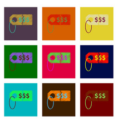 assembly of flat shading style icon sale tag money vector image