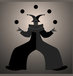 backlit silhouette retro style clown juggling vector image