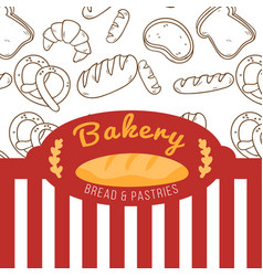Bakery bread and pasties red and white vector