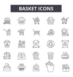 basket line icons signs set outline vector image