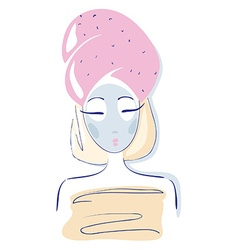 Beauty female in towel face mask clay mask vector