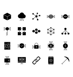 blockchain cryptocurrency icons set vector image
