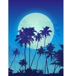 Blue moon with palm silhouettes poster background vector image