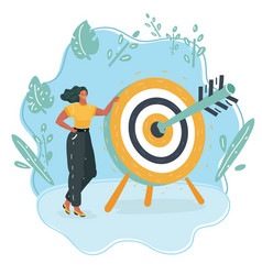 business woman try to hit a target vector image