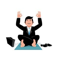 Businessman doing yoga Man in suit sitting in vector image