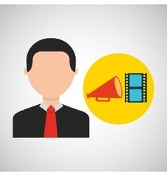 businessman movie strip film megaphone icons vector image