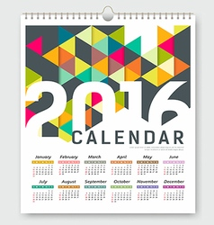 Calendar 2016 colorful triangle geometric vector image