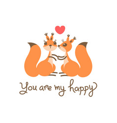 card with a couple squirrels kiss heart and vector image