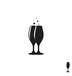 champagne glasses with bubbles vector image