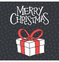 Christmas card with giftbox vector