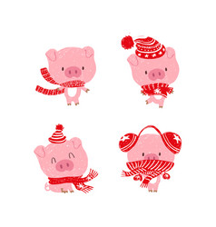 Christmas pinky piggy with a hat new year vector