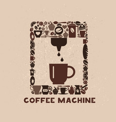 Cofee machine icon set of small icons vector