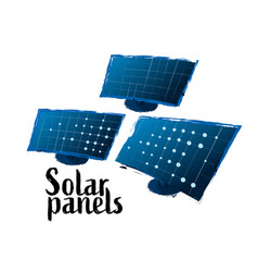 Collection of solar panels drawn in the vector