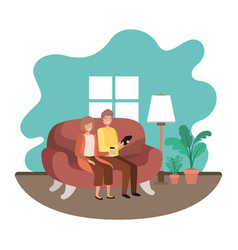 couple using tablet in livingroom vector image