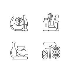 Creative hobbies linear icons set vector