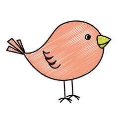 Cute bird drawing icon vector