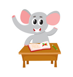 Cute little elephant student character sitting at vector