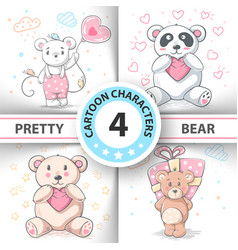 cute teddy bear - set cartoon characters vector image