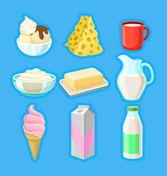 dairy products set fresh organic milk products vector image