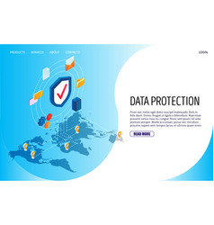 data protection website landing page design vector image