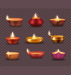 diwali diya lamps on transparent background vector image