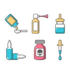 drugs icon set cartoon style vector image