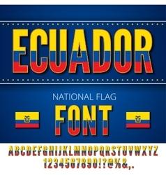 Ecuador flag font vector