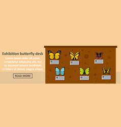 Exhibition butterfly desk banner horizontal vector