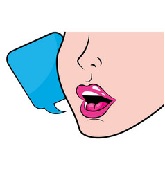 face profile with sexy lips vector image