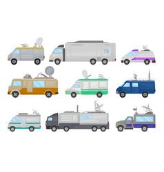 flat set of media cars television vector image