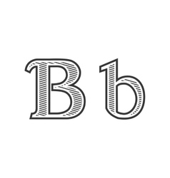 Font tattoo engraving letter B with shading vector