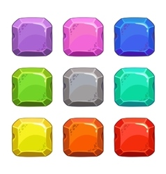 Funny cartoon colorful square buttons vector