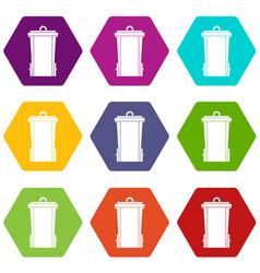 garbage bin icon set color hexahedron vector image