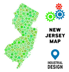 Gears new jersey state map collage vector