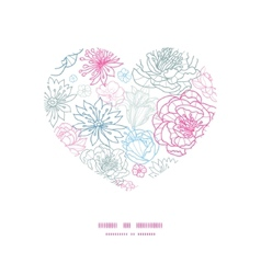 Gray and pink lineart florals heart vector