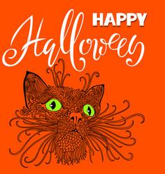 Halloween black cat with green eyes mandala vector