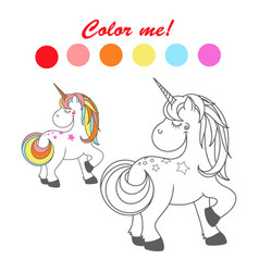hand drawn outlined funny unicorn coloring book vector image