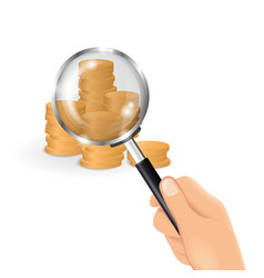 Hand holding a magnifying glass business and vector