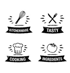 handdrawn kitchen icon set with title vector image