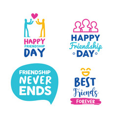 happy friendship day friend typography quote set vector image
