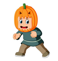 happy kid wearing scarecrow costume vector image