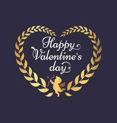 happy valentines day poster inscription in heart vector image vector image