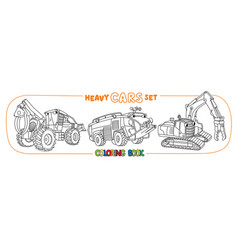 Heavy cars with eyes coloring book set vector