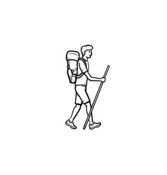 Hiker with backpack walking hand drawn outline vector