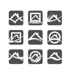 House roof logo icons vector